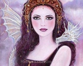 Aceo printltd ed 8 out of 25 goddess  dragon Fantasy art  by Renee L. Lavoie
