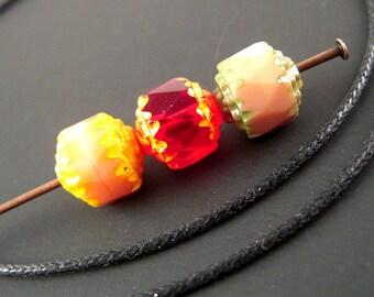 25 Czech Cathedral Beads, 8mm Czech Glass Bead Mix, Ruby Red, Opaque Green, Opaque Pink, 8mm Faceted Glass, Czech Beads CA01