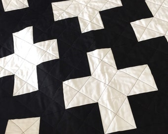 Black and white plus baby quilt