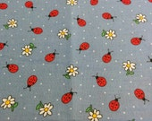 Ladybugs and Daisies Cotton Fat Quarter FQ Fabric Piece 100% cotton