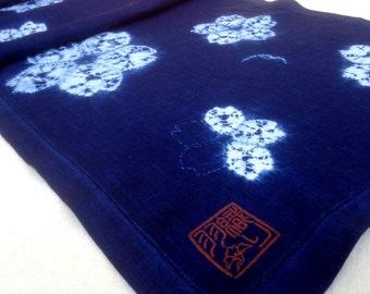 Cherry blossom table runner in indigo