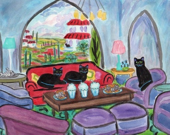 ORIGINAL PAINTING, 3 Black Cat in Tuscany with 3 Bacon Double Mouseburgers and 3 Milkshakes and Fish Dinner, DM Laughlin