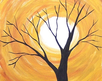 Tree Painting -Acrylic Painting -Moon Painting -Halloween Painting -12x18 Canvas Painting