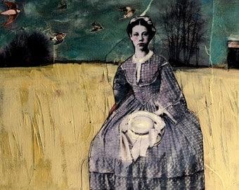 vintage woman horizontal  painting  with birds original mixed media acrylic