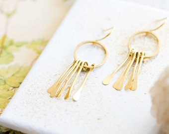 Golden Brass Paddle Chandelier Earrings, Little Golden Dangle earrings