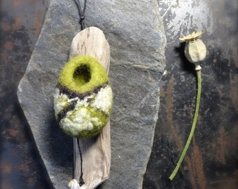 Felt Wall Hanging on driftwood with shell in Line green