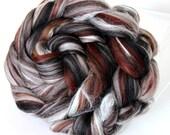 Merino Wool and Silk Combed Top Chocolate Truffle Fine Merino  100g