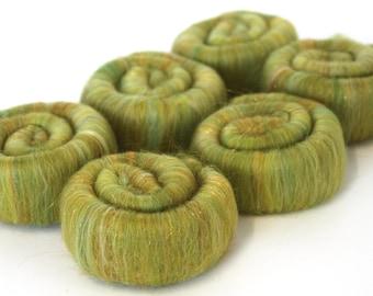 Merino Rolags - Fields of Gold Merino Wool Silk & Sparkle 50g 100g200g 500g