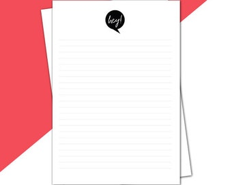 Printable stationery - Black and white 'Hey!' - letterhead, letter writing sheet