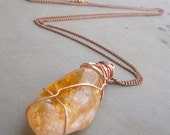 Citrine Necklace Copper, Wire Wrapped, Citrine Stone Crystal Pendant, Citrine Jewelry, Gift for Mom