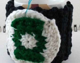Crocheted Coffee or Ice Cream Cozy in Black Cotton with Round Pocket in White and Green with Black Button (SWG-F05)