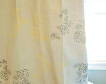 SALE Hand-Printed Shower Curtain with Rosetta Print in Grey and Yellow