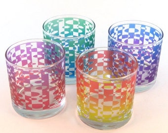 SUMMER SALE Inverted Ovals 10oz Lowball Tumblers - Inlaid Style - Etched and Painted Glassware - Ready to Ship