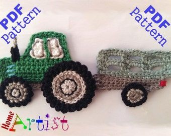Knitting Pattern With Tractor Motif : Tractor Slipper for Little Ones Knitting Pattern from MaggiePace on Etsy Studio