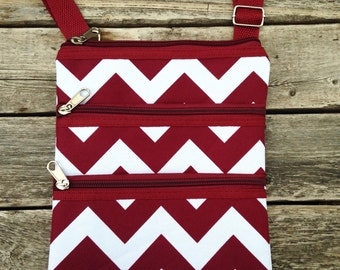 Personalized Maroon Chevron Messenger Bag - Mini Ipod Purse - Tablet Purse - Personalized Cross Body Bag -Includes Name or Monogram