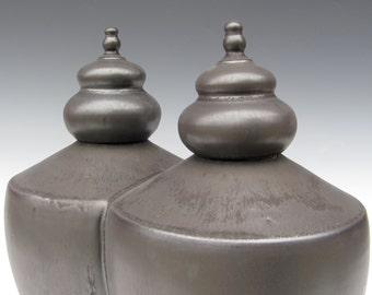 Double Urns - Soul Mates - Lidded Vessels - Handmade Urns- Matt Black - Ready to Ship
