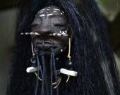 Shrunken Head,  Mini Mere Immortal, Hand Sculpted  with Rattles OOAK