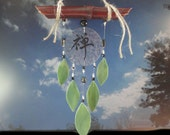 "Stained Glass Sculpture, Garden Art, Wind Chime, Mobile, Wall Hanging, Glass Windchimes, Hand Painted Kanji, Home Decor, Porch, ""Zen Garden"""