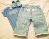Baby Boys Blue Dot Set, Pants and Shoes, Baby Boy Gift, Baby Boy clothing, Baby Shower Gift, Made in the USA, #40