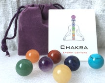 Chakra Stone SET with FREE Gift Pouch and Card, 7 pcs 12mm Undrilled Chakra Crystals, Reiki Set, Healing Gems, Yoga Jewelry, Fairy Garden