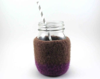 Felted wool mason jar cover - wool felt - jar sleeve - milk chocolate and amethyst