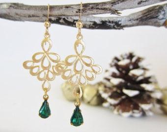 Emerald jewelry, May birthstone earrings, emerald green earrings, emerald earrings, rhinestone earrings, teardrop earrings, gold filigrees