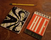 Set of 2 Groovy Journals Spiral Sketchbook Recycled Jazz Record Cover Notepad Blank and Lined Paper Fun