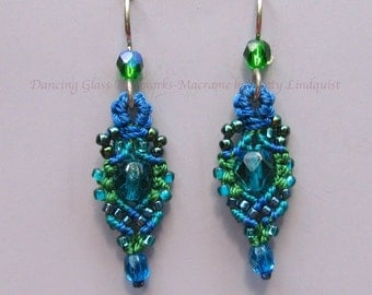 Macrame Earrings, Blue Green Beaded Earrings, Bead Earrings, Micro Macrame, Teal, Blue, Small Earrings, Rachel style