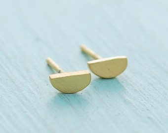 Half Circle Studs, sterling silver earrings, gold earrings, eco-friendly. Handcrafted by Chocolate and Steel
