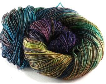 Hand Dyed Sparkle Sock Yarn - Galaxy