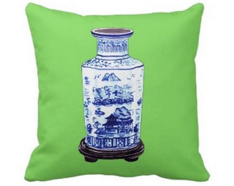 CHINESE VASE  PILLOW 4 sizes and colors (indoor and outdoor fabrics)