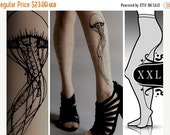 SALE25%off/// plus size XXL GREY sexy Jellyfish tattoo tights / stockings /  full length  / pantyhose / nylons
