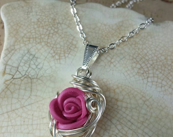 Gilded Posy Pink Rose and Silver Pendant Necklace