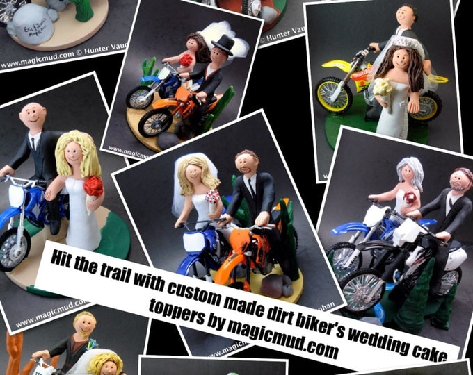 Dirt Biker's Motorcycle Wedding CakeTopper, Anniversary Gift for Honda Motorcycle Riders, Dirt Biker's Wedding Anniversary Gift/Cake Topper.