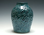 Teal Pottery Vase with Raised Swirling Vines