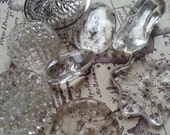lovely carved clear glass buttons, vintage. (lot ab)