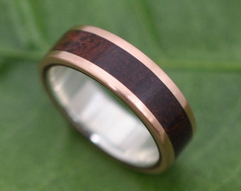 Size 7, 6mm READY TO SHIP Rose Gold Lados Nacascolo Wood Ring - ecofriendly wood wedding band, 14k red gold exterior with sterling interior