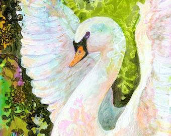 Swan - Modern Romantic Fine Art Wildlife Print by Jenlo