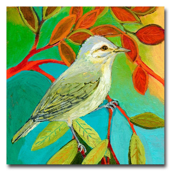 The NeverEnding Story No 125 (vireo) - ORIGINAL Painting on 6x6 Wood Block by JENLO