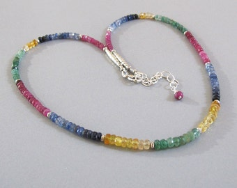 Ruby Emerald Sapphire Citrine Necklace Sterling Silver DJStrang Red Pink Green Blue Yellow Gemstone Boho Cottage Chic