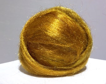 Warm Gold Firestar, Needle Felting, Spinning Fiber, roving, .5 oz, gold, golden sand, mustard, yellow brown, similar to Icicle Top