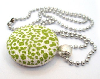 Green Fabric Necklace, Upcycled Fabric Pendant, Handmade Textile Jewelry, Vintage Inspired Womens Boho Accessories, Silver