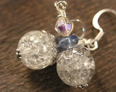 SALE Crystal crackle glass beads, blueberry quartz and silver handmade earrings