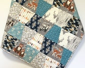 Woodland Baby Boy Quilt Tumbler Patchwork Nursery Bedding Hello Bear  Gray Navy Teal Deer Arrows Rustic Crib Bedding Forest Animals Antlers