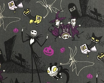 Nightmare Before Christmas Grey fabric 1 yard Extremely Limited Quantity