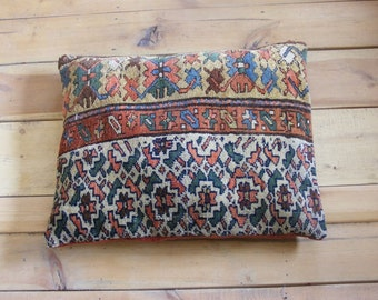 Antique Persian rug pillow cushion