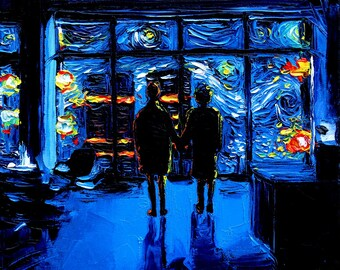 Fight Club Art - CANVAS print van Gogh Never Watched The World Burn by Aja 8x8, 10x10, 12x12, 16x16, 20x20, 24x24, 30x30 choose size