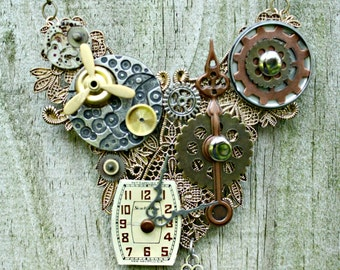 Industrial Steampunk Time Clock Pendant Necklace with 18 Inch Brass Chain