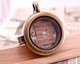 """Brass Magnetic Shadow Box Necklace Pendant Embark on a Journey with 18 """" Brass Chain and Do-Dads"""