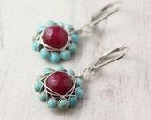 Turquoise and Raspberry Jade Flower Earrings